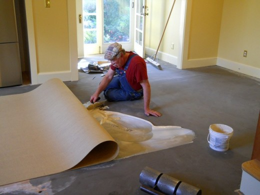 Marmoleum comes in sheets which are then glued down with non-toxic glue.