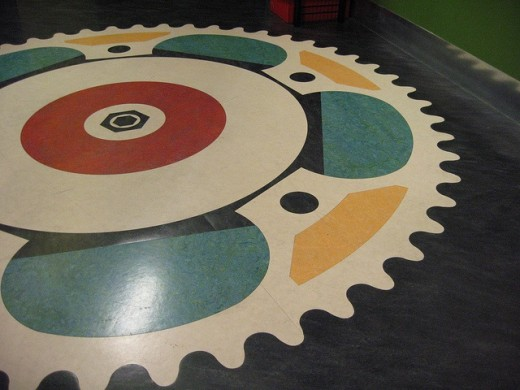 Complex designs can be created with marmoleum - but the more complex the design the more difficult it may be to maintain.