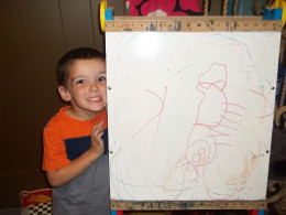 Kamden and his picture of a deer!