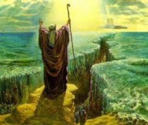 Moses parting The Red Sea is depicted, in this particular picture from the Old Testament of the Holy Bible. Many paintings and films about this topic has been produced.