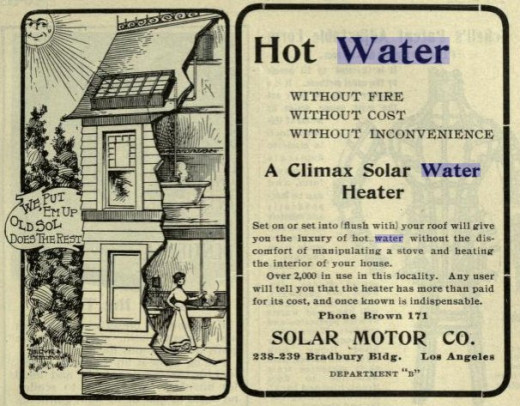 Advertisement for solar hot water out West:  1902