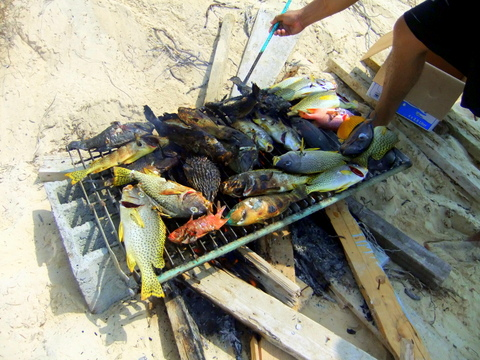Fish from the Red Sea taste good partly because the salinity level is higher. Preparing for our lunch