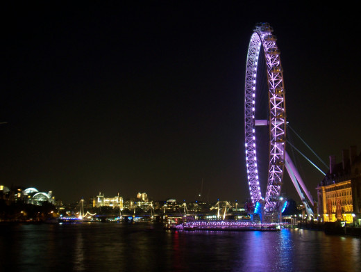 The London Eye over the city