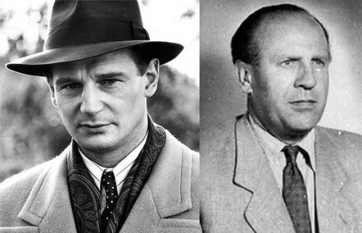 Liam Nisson playing Schindler on the left, Oskar Schindler on the right.