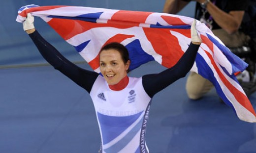 Victoria Pendleton celebrates after winning gold in the women's kierin at the London 2012 Olympics