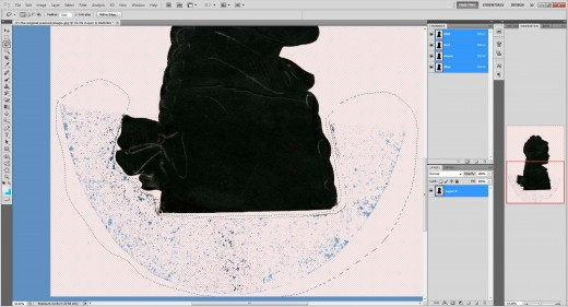 (10.) Delete selected background until the canvas is as blank as possible but leaving the silhouette intact.