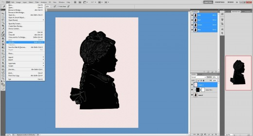 (29.)  The project is now completed. Photoshop will automatically fill in the missing background with white. Click 'Save As'