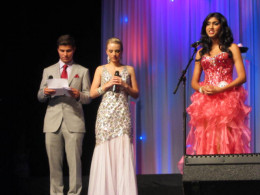 Degrassi's Luke Bilyk reads skill testing question to Megha Sandu, Miss Teen Quebec before she became the 2013 Miss Teen Canada World  - questions were only asked to the final five.