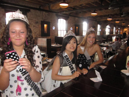 Miss Teen on phone .? .. the Crystal Li, Miss Teen South Western British Columbia, and Jennifer Robitaille Miss Teen Central Alberta in Pure Spirits Oyster Toronto, Distillery District Scavenger Hunt