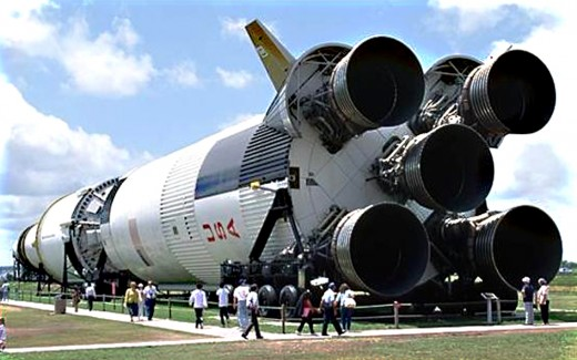 The Saturn V rocket which carried man to the Moon
