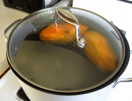 Cooking in the pot.