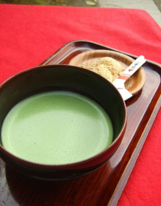 The matcha is a powder tea that is slightly sweet