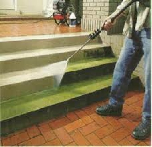 Pressure washing steps is easy but, watch your toes because a pressure washer with a strong PSI can peel skin right off your feet.
