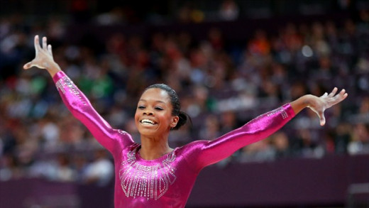 USA's Gabrielle Douglas following her balance beam routine Gabrielle Douglas of the United States reacts after she competes on the balance beam in the Artistic Gymnastics Women's Individual All-Around final on Day 6 at North Greenwich Arena