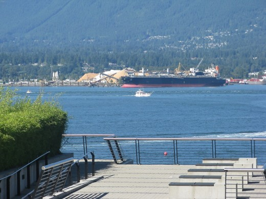 One of the many different views of Burrard Inlet which are available at Canada Place and on the trail to Stanley Park