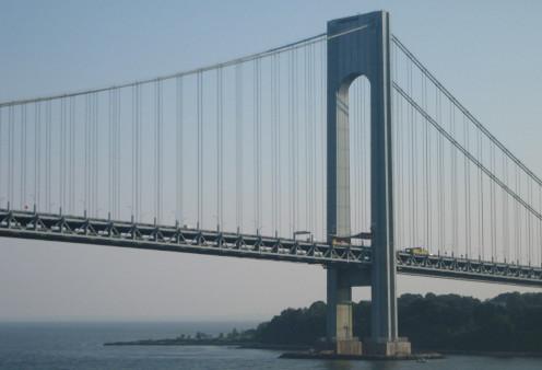 Leaving port in New York City- The Verazzano Narrows Bridge