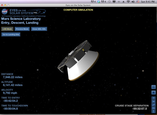 The graphics are a computer model of the craft, but the data is live. (My computer's clock is PDT, same timezone as JPL in Pasadena.)