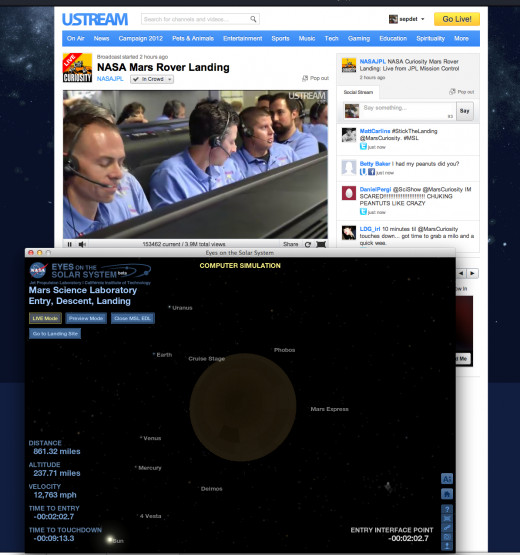 Here's how I'm watching all this: the livestream broadcast from JPL in one window, and the EDL visualizer in another.