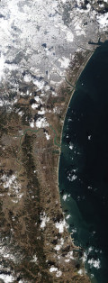 Earthquake along the coast of Japan 2011 as seen from space