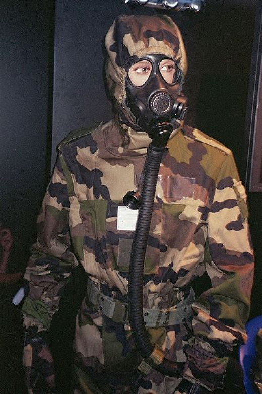 The lady at the buffet was dressed kind of like this, only without the camouflage clothing. She was wearing jeans and a shirt. Pretty normal looking... except for the gas mask and ear protection!