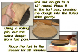 "Roll out the chilled dough to a 12' diameter (about 1/8"" thick). Put in pan, press into sides, cut extra from top, and chill in freezer for 30 minutes."