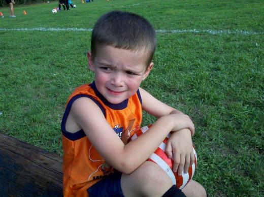 Taking a break at Soccer Practice!