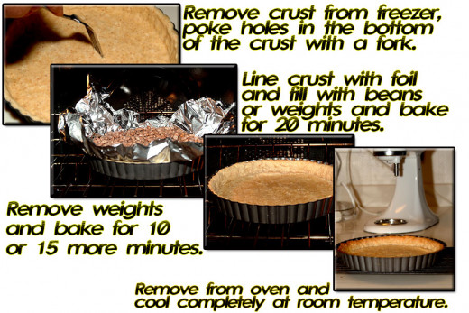 Poke hole in bottom of crust with a fork, add weights, bake 20 min. remove weights bake 10 more minutes. Remove to cool at room temperature.