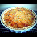 Leek and bacon quiche fresh from the oven