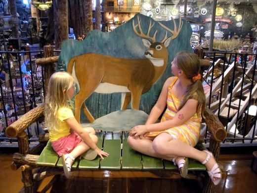 "What a ""deer"" little bench the girls found..."
