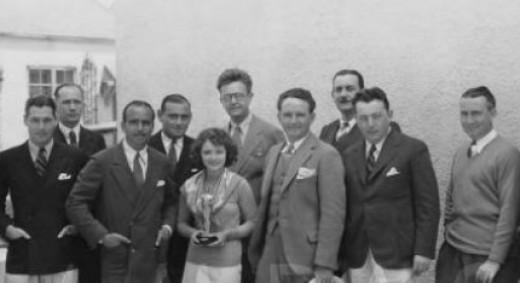 Winners, 1927/28 (1st) Academy Awards, from left: Richard Arlen; unidentified man; Academy president and presenter Douglas Fairbanks; Benjamin Glazer, Writing (Adaptation) (7TH HEAVEN, 1927); Janet Gaynor, Actress (7TH HEAVEN, 1927; STREET ANGEL, 192