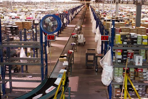 This is a picture of the Zappos fulfillment center in Kentucky. This is one of the many Amazon Fulfillment warehouses. Not only do they store tons of items here, but they also do all of the packing and shipping from here.