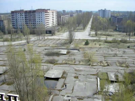The now abandoned city of Chernobyl after years of natural reclamation.