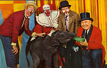 "Bozo and friends on the ""Bozo's Circus"" show on WGN-TV, Chicago."