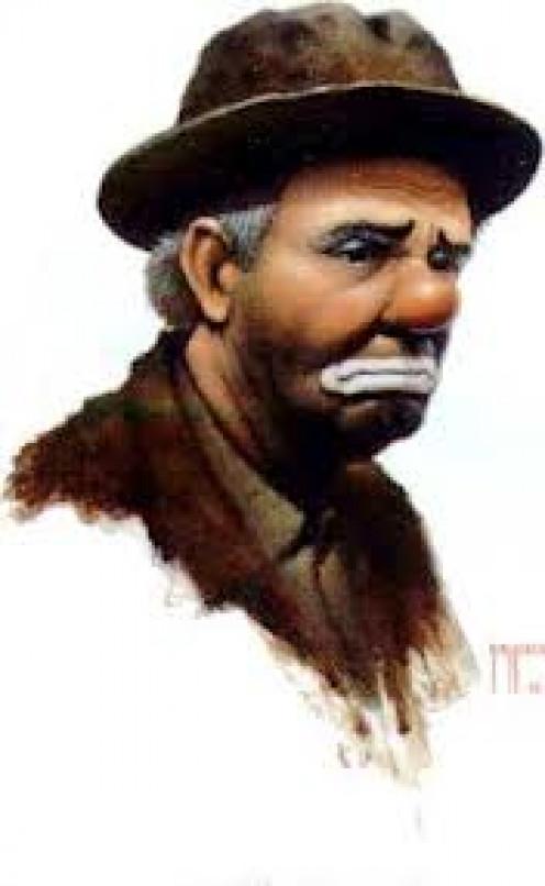Famous cartoon of the world's most-famous clown, Emmett Kelley.
