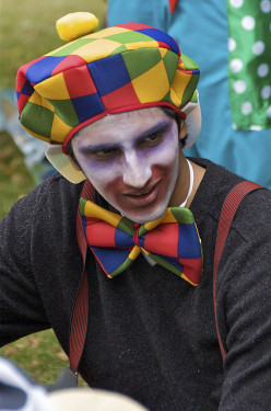 Wonder what is on this clown's mind?