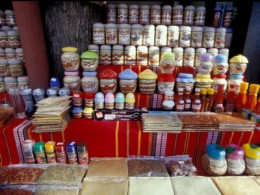 Glass Jars and Bags of Spices for Sale in Street Market, Nessebur, Bulgaria, by Cindy Miller Hopkins