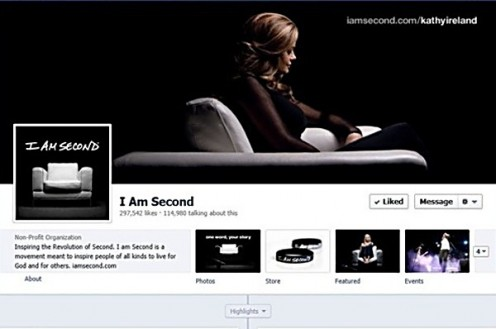 "A screenshot of the ""I am Second"" Facebook page featuring model Kathy Ireland."