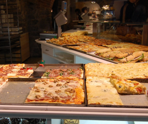 Focaccia for sale in Bergamo, Italy