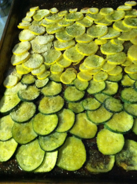 Finished product of Summer Squash and Zucchini Parmesan Bake