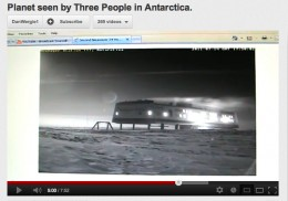 A YT video screen capture shows a mystery planet in the Antarctica sky.