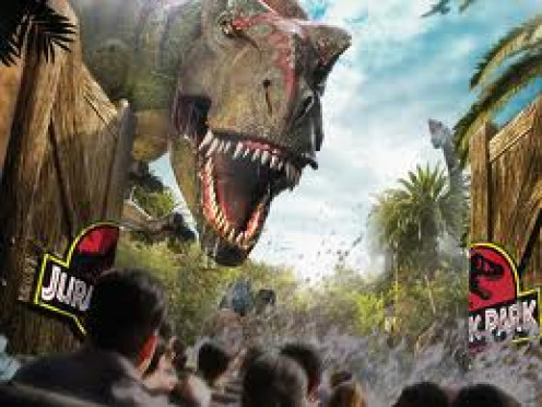 Jurassic Park at Universal Studios is a ride on a roller coaster type track that takes you back in time.