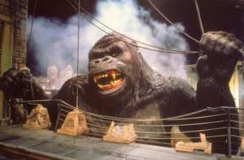 King Kong at Universal Studios is no longer their but it was a very intense ride that had you riding a skyline train through a city with a rampaging Kong in your face.