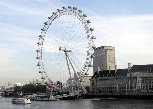"The famous ""London Eye"" observation wheel in London. The new wheels being constructed on the strip in Las Vegas are similar."