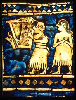 From the 'Peace' side, showing a musician and singer at the feast