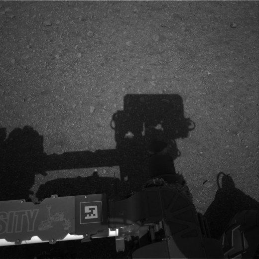 See that pixelated square on the Rover's frame with a simplified portrait of Curiosity? That's for smartphone barcode scanners. Scan it, and you'll be taken to a mobile site for the Mars Rover.