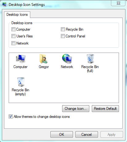Deselect all the desktop items to stop them being displayed.