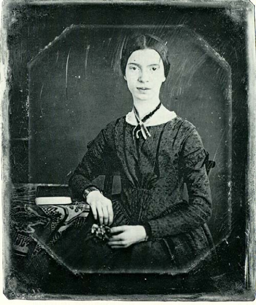 A daguerreotype of Emily Dickinson.  This photo was taken of her sometime between 1846 and 1847 by William North.
