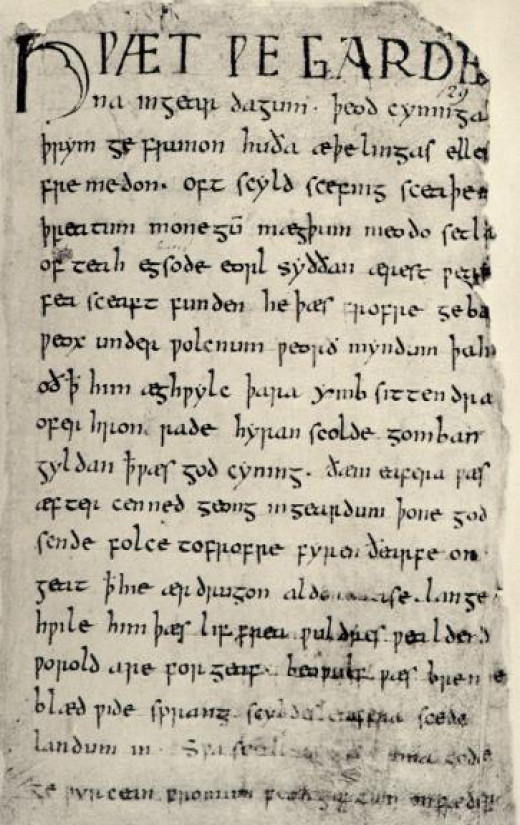 The first page of the Beowulf manuscript.