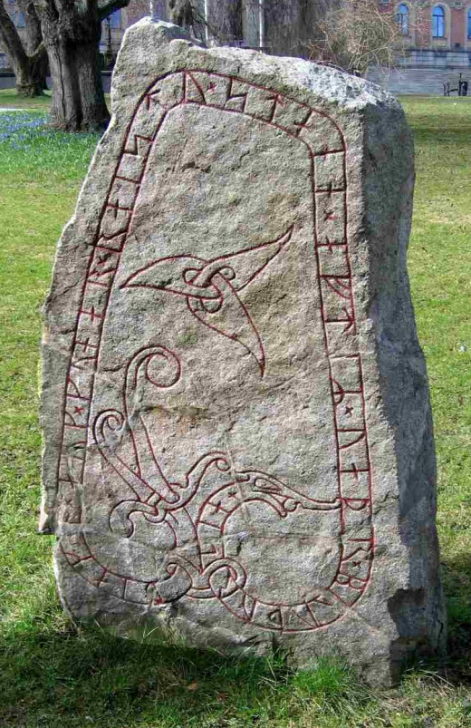 Runes and triquetra carved into one of the Funbo Runestones.