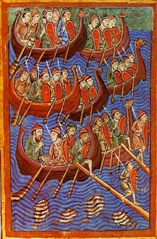 "An image from the 12th century ""Miscellany on the Life of St. Edmund"" showing the Danish invasion of England."